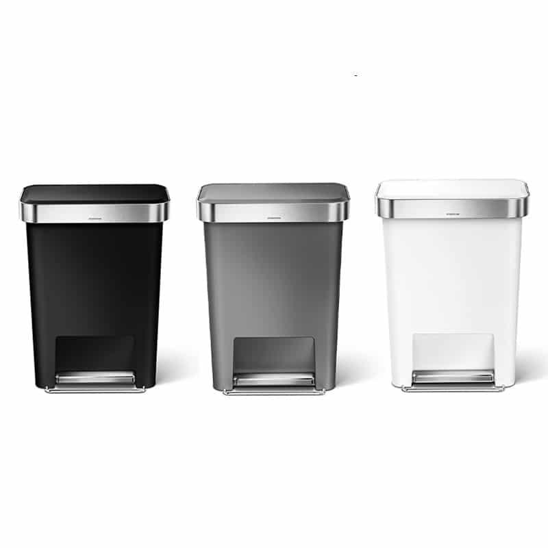 ブラック・グレー・ホワイト プラスチックレクタンレギュラーステップカンのカラーバリエーション