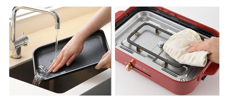 ブルーノコンパクトホットプレート用「グリルプレート」掃除・お手入れが簡単