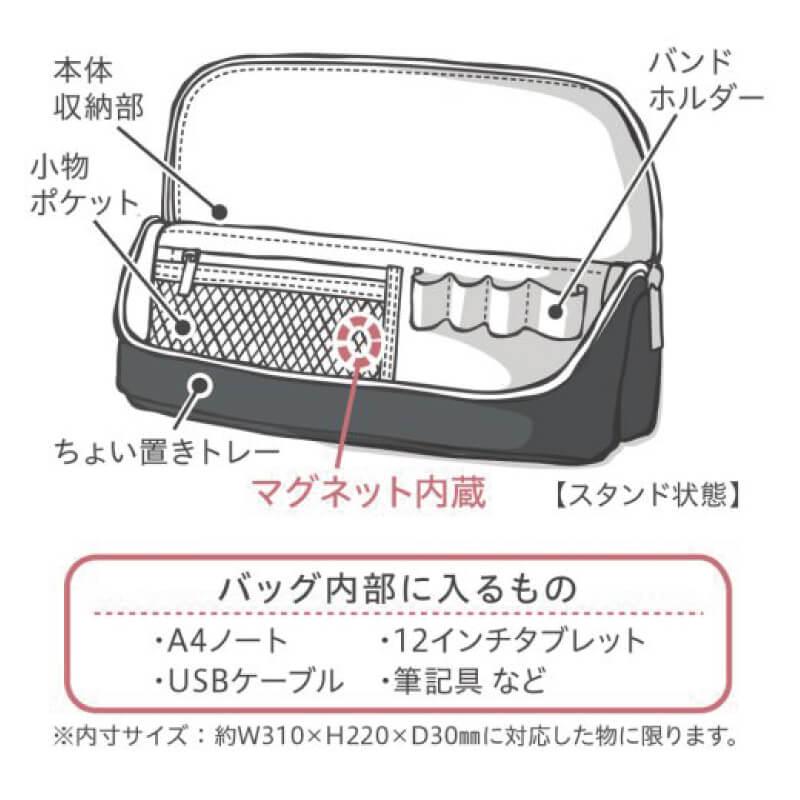 タブレット、パソコンケース、充電コードなどをまとめて収納できるバッグ
