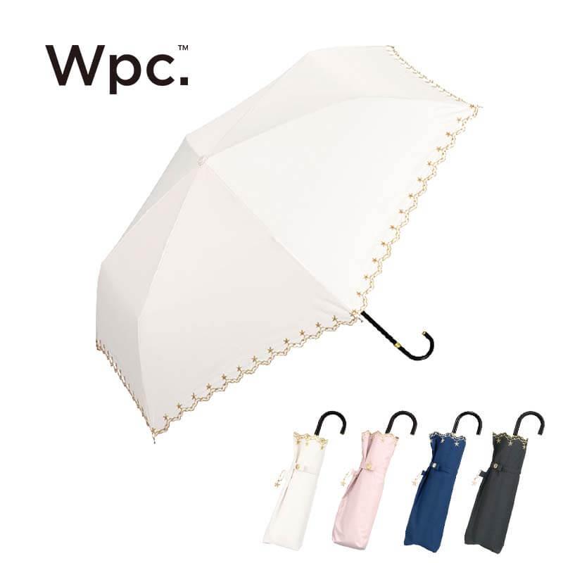 Wpc.折りたたみ日傘 遮光星柄スカラップmini 全色トップ画像