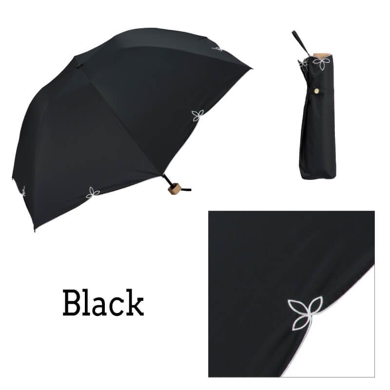 Wpc.折りたたみ日傘 バードケージワイドスカラップmini ブラック