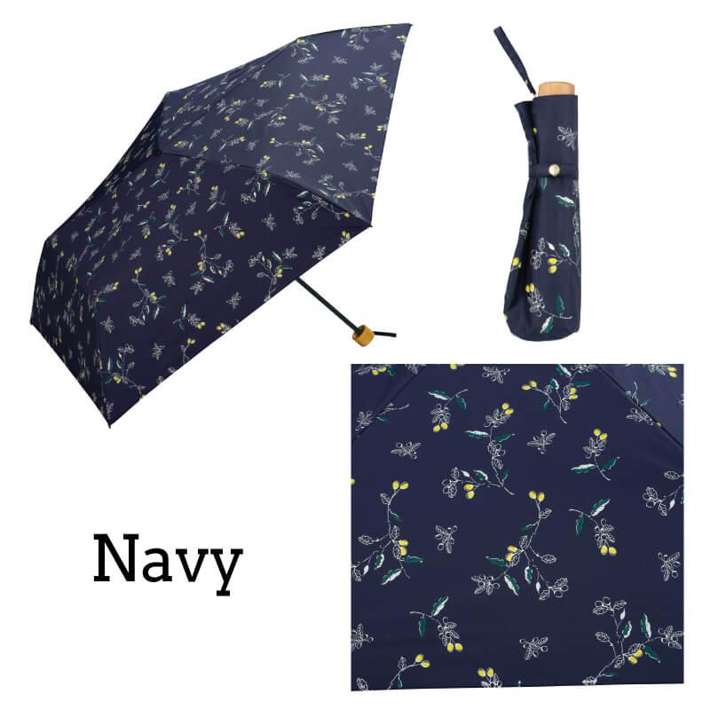 Wpc.折りたたみ日傘遮光軽量木の実mini ネイビー