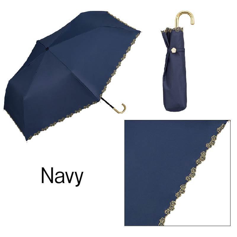 Wpc.折りたたみ日傘 遮光フローラルスカラップmini ネイビー