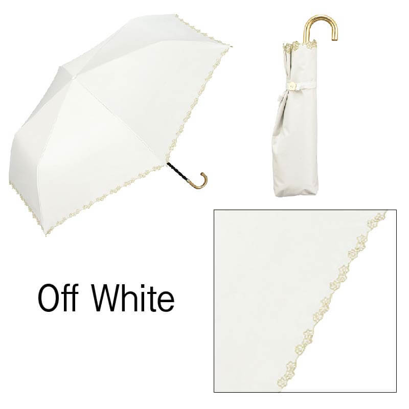 Wpc.折りたたみ日傘 遮光フローラルスカラップmini オフホワイト
