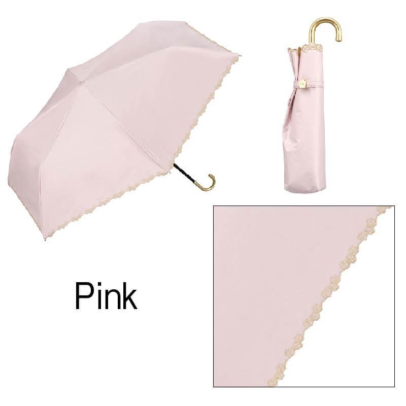 Wpc.折りたたみ日傘 遮光フローラルスカラップmini ピンク