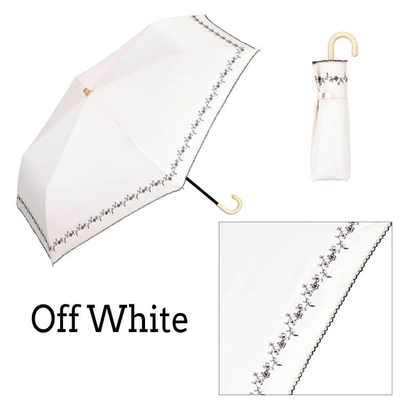 Wpc.折りたたみ日傘 遮光プチフラワー刺繍mini オフホワイト