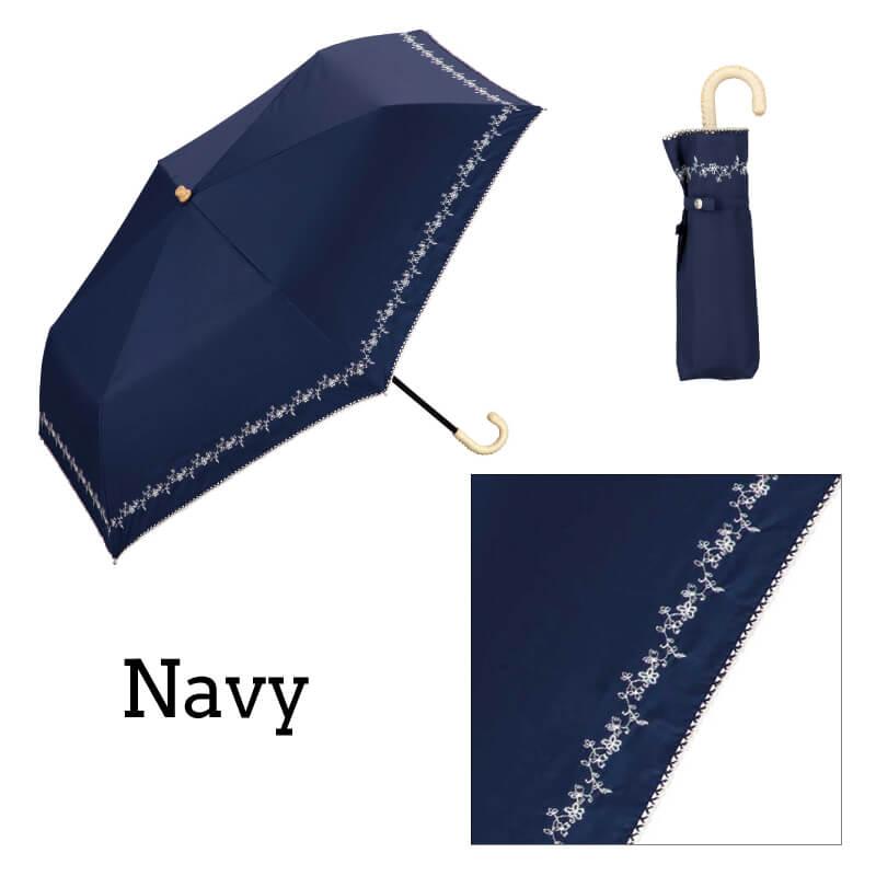 Wpc.折りたたみ日傘 遮光プチフラワー刺繍mini ネイビー