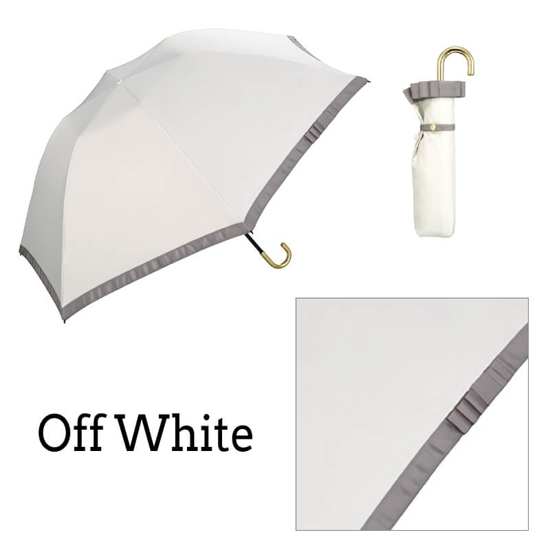 Wpc.折りたたみ日傘 遮光バードケージリムリボンmini オフホワイト