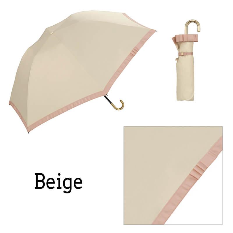 Wpc.折りたたみ日傘 遮光バードケージリムリボンmini ベージュ