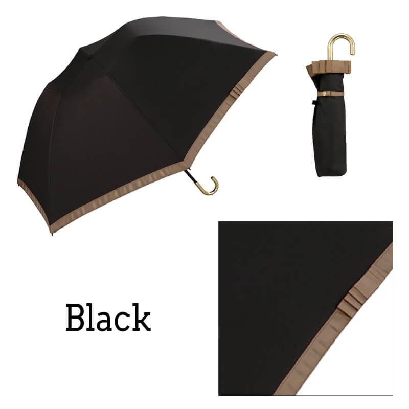 Wpc.折りたたみ日傘 遮光バードケージリムリボンmini ブラック