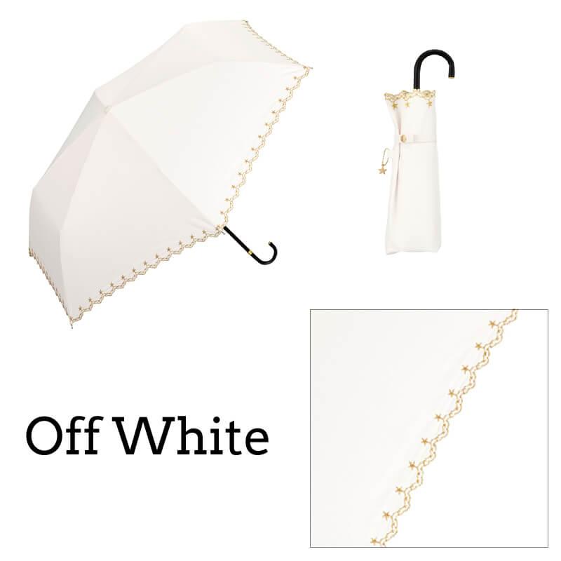 Wpc.折りたたみ日傘 遮光星柄スカラップmini オフホワイト