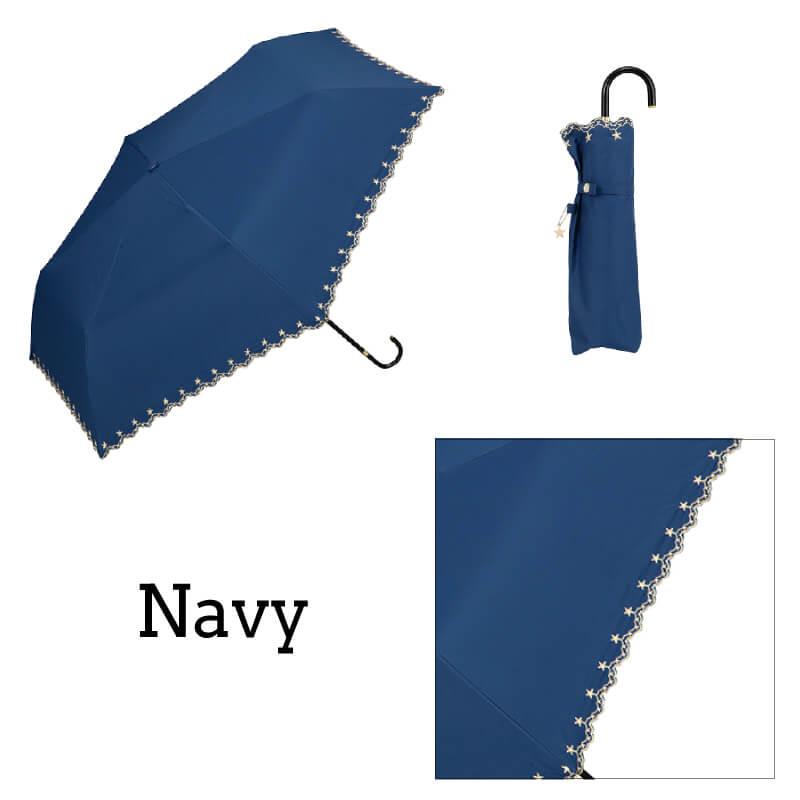 Wpc.折りたたみ日傘 遮光星柄スカラップmini ネイビー