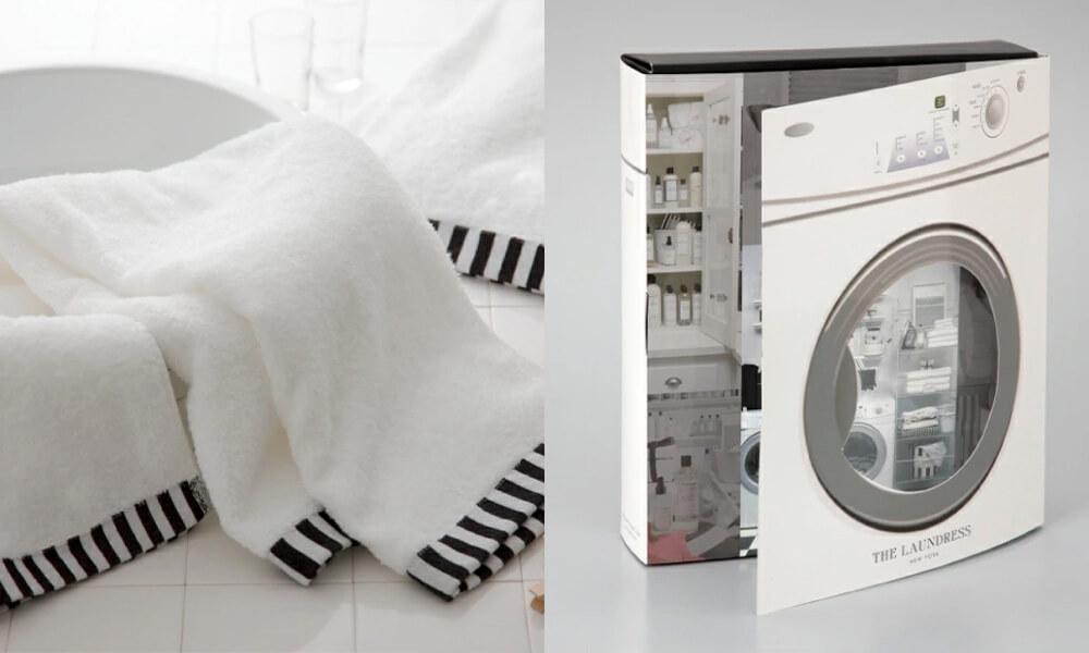ランドレス オーガニックコットンタオル&ファブリックケアセットのタオルとパッケージの写真