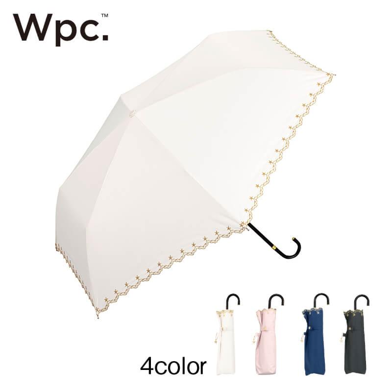 Wpc.折りたたみ日傘 遮光星柄スカラップmini